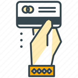 cafe, card, credit, hand, payment, restaurant icon