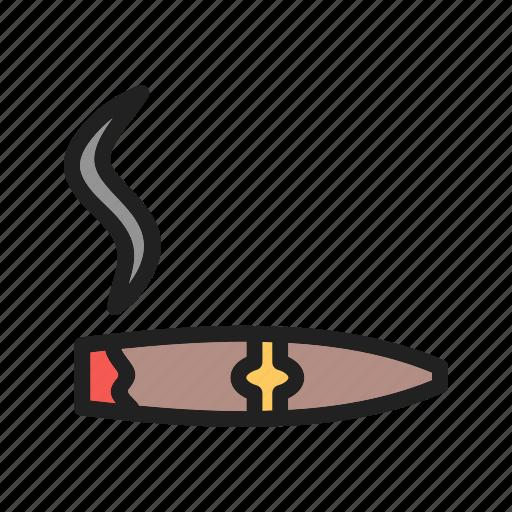 bar, cafe, cigar, lifestyle, lit, smoke, tobacco icon
