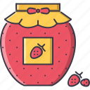 cafe, food, jam, jar, snack, strawberry, sweet icon