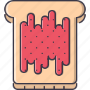 bread, cafe, food, jam, snack, sweet, toast icon