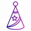 birthday, cone, happy, hat, party, star icon