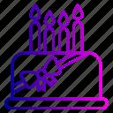 birthday, cake, candles, christmas, desert, dessert, line icon