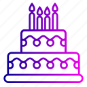 birthday, cake, candles, celebration, decoration, desert icon