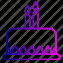 birthday, cake, candle, candles, celebration, desert, line icon