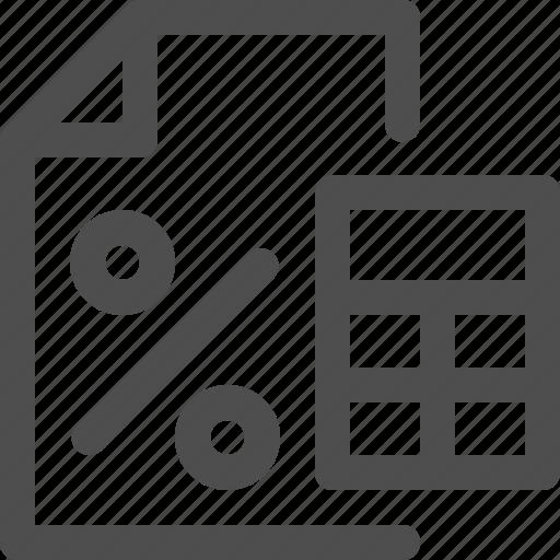 business, calculating, calculator, economy, file, finance, percent icon
