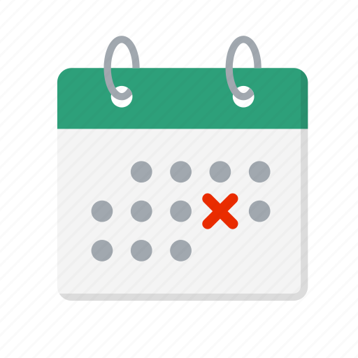 calendar, cancel, cancellation, date, delete, remove, wrong icon