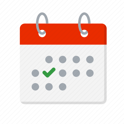 calendar, check, check mark, date, done, important day, tick icon