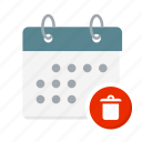 appointment, bin, calendar, erase, remove, removed, trash icon