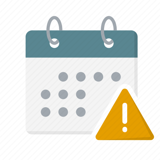 alert, attention, calendar, date, exclamation, important, warning icon