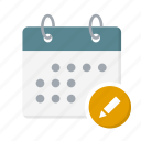 appointment, calendar, date, day, deadline, edit, reminder icon