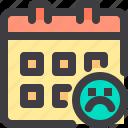 calendar, date, interface, sad, time icon