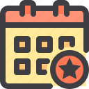 calendar, date, interface, star, time icon