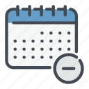 calendar, date, delete, minus, planner, remove