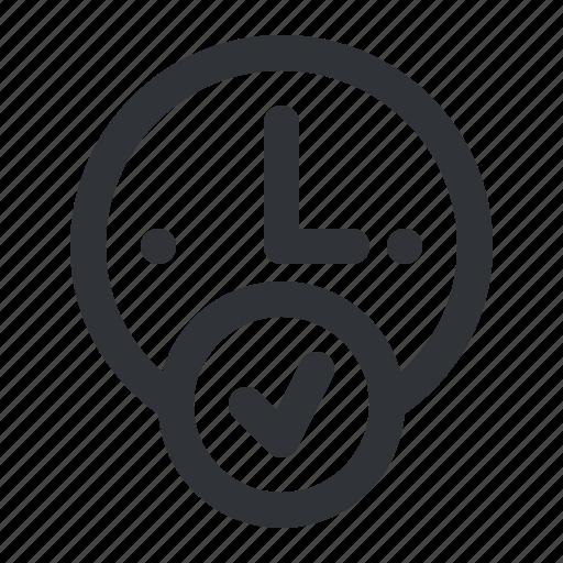 alarm, check, clock, hour, time, verified icon