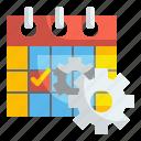setting, configure, calendar, event, date, cogwheels, schedule icon