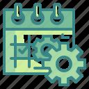 event, schedule, configure, date, cogwheels, setting, calendar icon