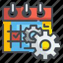 cogwheels, configure, date, event, calendar, schedule, setting icon