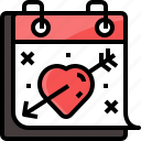arrow, calendar, day, heart, love, valentine, valentines