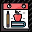 back, book, calendar, day, education, learning, school