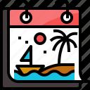 beach, calendar, holiday, season, summer, tree, vacation