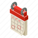 agenda, calendar, isometric, logo, marked, month, object