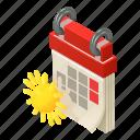 agenda, calendar, isometric, logo, month, object, spring