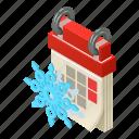agenda, calendar, isometric, logo, object, winter, year