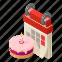 agenda, birthday, calendar, isometric, logo, month, object