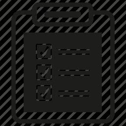 check, clipboard, document, list, tick icon