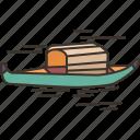 boat, river, fishing, vessel, transport