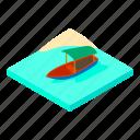 boat, island, isometric, logo, object, umbrella, water