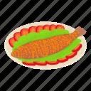 asia, breakfast, fish, fried, isometric, logo, object