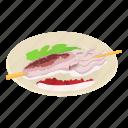 asia, breakfast, isometric, logo, object, octopus, plate