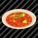 asia, breakfast, isometric, logo, object, soup, tomato