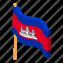 cambodia, cambodian, country, flag, isometric, logo, object