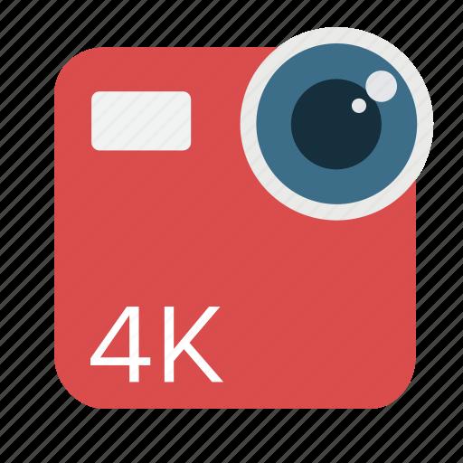 4k, camera, cinema, digital, lens, uhd, video icon