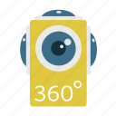 360, camera, digital, panorama, video, vr icon