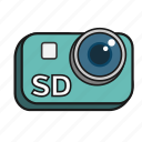 camera, cartoon, lens, sd, standard definition, video icon