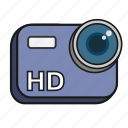 camera, cartoon, hd, high definition, lens, video icon