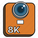 8k, camera, cinema, digital, filled, high resolution, video icon