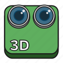 3d, camera, cinema, digital, filled, lens, stereoscopic icon