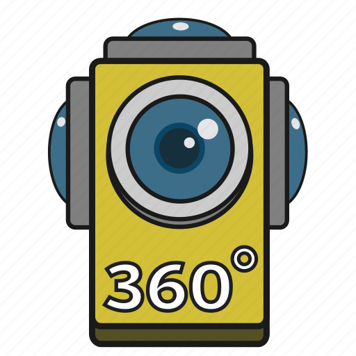 360 degrees, camera, digital, filled, panorama, vr icon