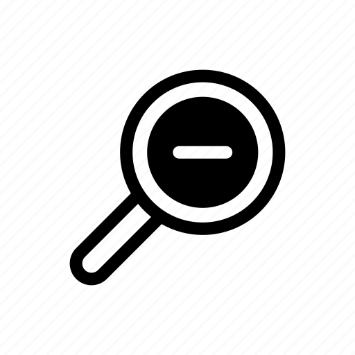 decrease, image, magnify glass, minus, search, view, zoom out icon