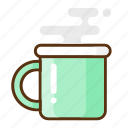 camping, cup, glass, hot, mug, smoke icon