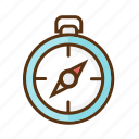 camping, clock, compass, stopwatch icon