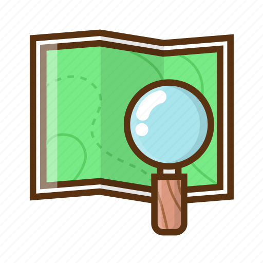 camping, cartography, location, magnifying glass, map, tracking icon