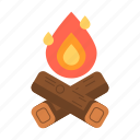 bonfire, campfire, fire, travel icon