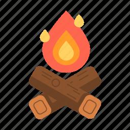 bonfire, campfire, fire, travel icon