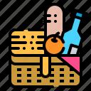 basket, camping, drink, food, picnic icon