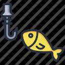 fish, hook, pole, rod